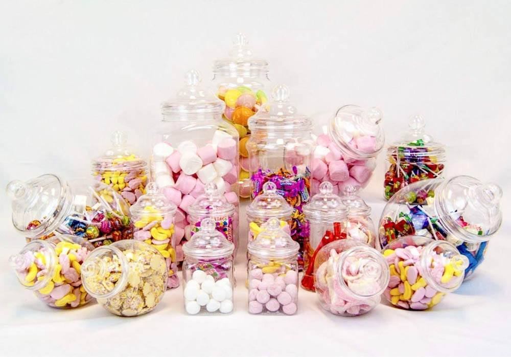 19 Jar Variety Victorian Style Plastic Candy Buffet Sweet Jar Kit 1