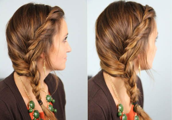 Loose Twisted Side Braid With Bangs