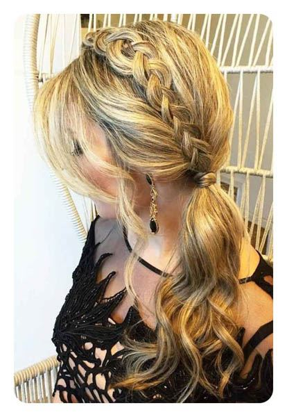 Low Twisted Side Ponytail With Bangs
