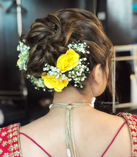 Messy Braided Rose Updo With Puff