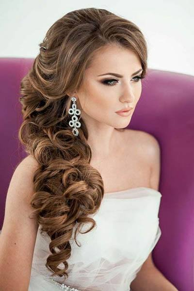 Side-swept Curls - wedding hairstyles