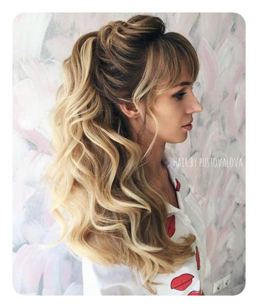 Textured Wavy Side Ponytail With Bang