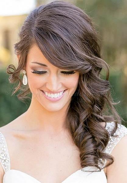 wedding hairstyles - Wavy Side Hairdo With Twisted Side Sweep