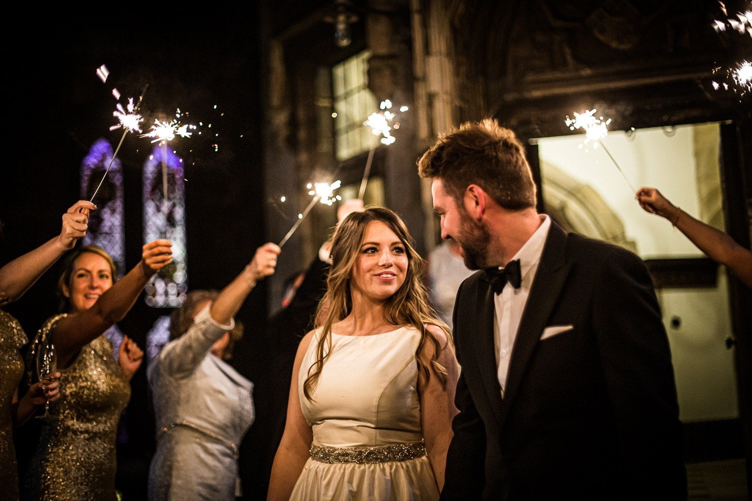 sparklers at a wedding - Wedding Photographer in Lancashire